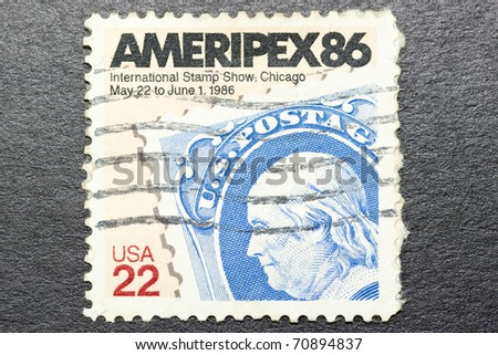 USA - CIRCA 1986: A stamp printed in US celebrating AMERIPEX86 International Stamp Show in Chicago, circa 1986