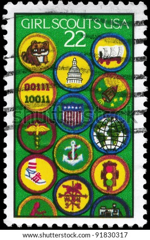 USA - CIRCA 1987: A stamp printed in USA devoted to Girl Scouts, 75th Anniv., circa 1987 - stock photo