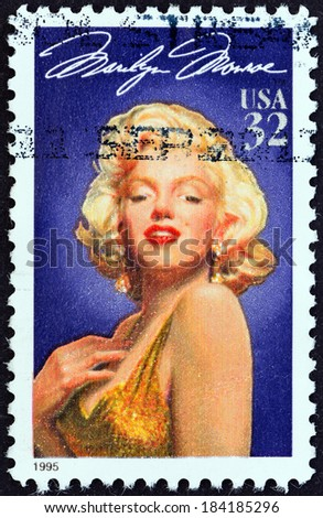 """USA - CIRCA 1995: A stamp printed in USA from the """"Legends of Hollywood """" issue shows Marilyn Monroe, circa 1995. - stock photo"""