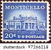 "USA - CIRCA 1954: A stamp printed in USA from the ""Liberty"" issue shows Monticello, Thomas Jefferson's estate, circa 1954. - stock"
