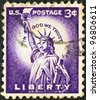 """USA - CIRCA 1954: A stamp printed in USA from the """"Liberty"""" issue shows the Statue of Liberty, circa 1954. - stock photo"""