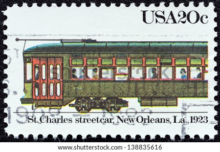 "USA - CIRCA 1983: A stamp printed in USA from the ""Streetcars"" issue shows St. Charles streetcar, New Orleans, 1923, circa 1983. - stock photo"