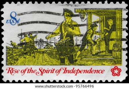 "USA - CIRCA 1973: A Stamp printed in USA shows a Drummer, from the series ""Rise of the Spirit of Independence"", circa 1973"