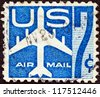 USA - CIRCA 1960: A stamp printed in USA shows a Jet Silhouette, circa 1960. - stock photo