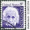 USA - CIRCA 1966: A stamp printed in USA shows Albert Einstein (1879-1955), physicist, circa 1966 - stock photo