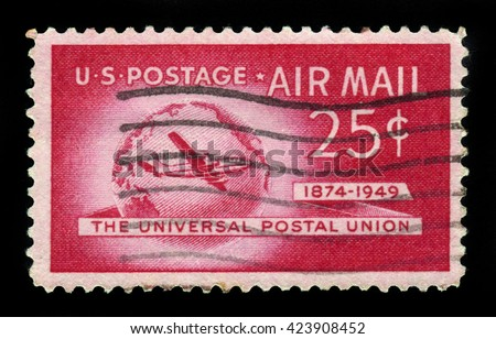 USA - CIRCA 1949: A stamp printed in USA shows Boeing Stratocruiser and Globe, Universal Postal Union Issue, circa 1949 - stock photo