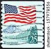 USA - CIRCA 1988: A stamp printed in USA shows Flag over Half Dome, Yosemite National Park, circa 1988.  - stock photo