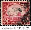 USA - CIRCA 1922: A stamp printed in USA shows Golden Gate in San Fracisco, circa 1922 - stock photo