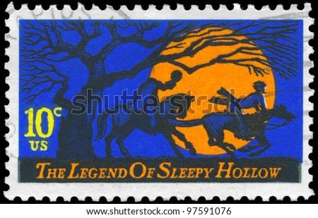 USA - CIRCA 1974: A stamp printed in USA shows Headless Horseman pursuing Ichabod Crane, Legend of Sleepy Hollow, by Washington Irving, circa 1974 - stock photo