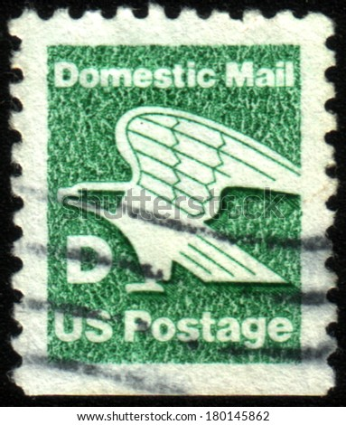 USA - CIRCA 1980: A stamp printed in USA shows image of the dedicated to the Domestic Mail, circa 1980.  - stock photo
