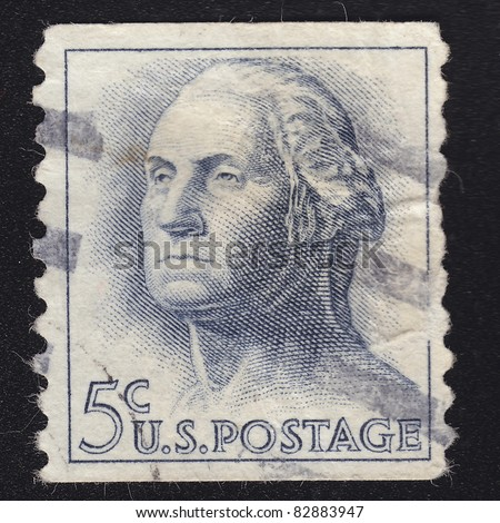 USA - CIRCA 1958: A stamp printed in USA shows image portrait George Washington , circa 1958.