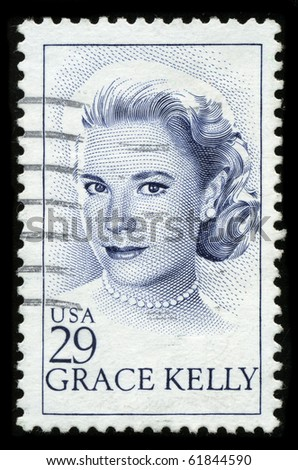 USA - CIRCA 1982: A stamp printed in USA shows image portrait Grace Patricia Kelly was an American Academy Award-winning actress and Princess consort of Monaco, circa 1982. - stock photo