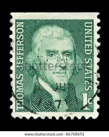 USA - CIRCA 1930: A stamp printed in USA shows image portrait Thomas Jefferson, circa 1930. - stock photo