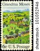 USA - CIRCA 1969: A Stamp printed in USA shows July Fourth, by Grandma Moses (1860-1961), primitive painter of American life, circa 1969 - stock photo