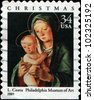 USA -CIRCA 2001: A stamp printed in USA shows Lorenzo Costa Virgin and Child, Philadelphia Museum of Art, Circa 2001 - stock photo