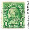 USA - CIRCA 1910: A stamp printed in USA shows portrait of Benjamin Franklin (1706-1790), circa 1910 - stock photo
