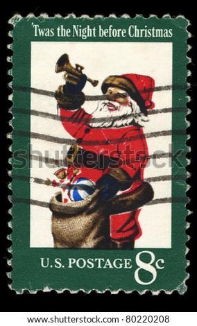 USA - CIRCA 1972: A stamp printed in USA shows Santa Claus; Twas the Night before Christmas. Design by Stevan Dohanos. circa 1972 - stock photo