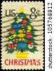 USA - CIRCA 1973: A Stamp printed in USA shows the Christmas Tree in Needlepoint, circa 1973 - stock photo