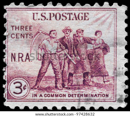 USA - CIRCA 1933: A stamp printed in USA shows the Group of Workers, National Recovery Act Issue, circa 1933 - stock photo