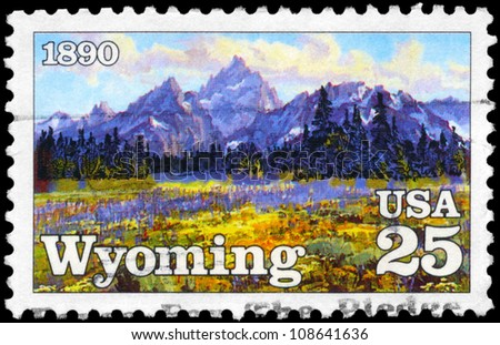USA - CIRCA 1990: A Stamp printed in USA shows the High Mountain Meadows, by Conrad Schwiering, Wyoming State centenary, circa 1990 - stock photo