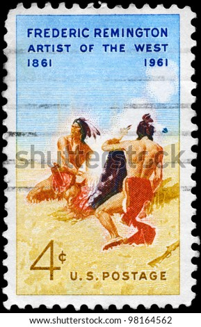 "USA - CIRCA 1961: A stamp printed in USA shows the painting ""Smoke Signal"", by Frederic Remington (1861-1909), artist of the West, circa 1961"
