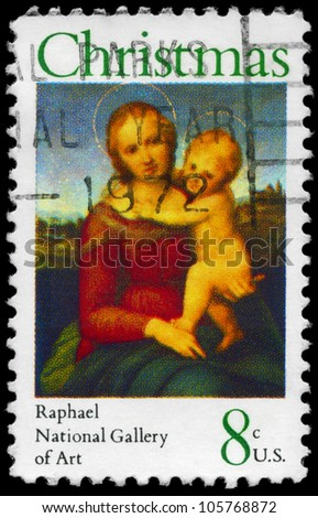 USA - CIRCA 1973: A Stamp printed in USA shows the Small Cowper Madonna, by Raphael (1483-1520), National Gallery of Art, Washington, circa 1973