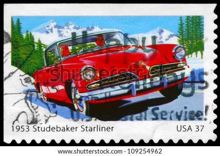 USA - CIRCA 2005: A Stamp printed in USA shows the Studebaker Starliner (1953), Sporty Cars of the 1950s series, circa 2005 - stock photo