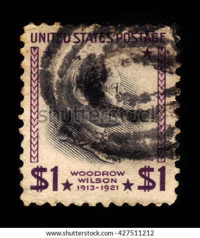 USA - CIRCA 1938: A stamp printed in USA shows Woodrow Wilson, 28th president of the United States from 1913 to 1921, circa 1938