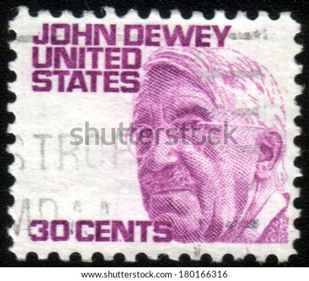USA - CIRCA 1980: A stamp shows image portrait John Dewey (October 20, 1859 - June 1, 1952) was an American philosopher, psychologist and educational reformer, circa 1980. - stock photo