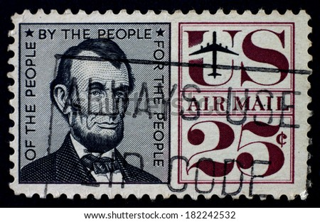 USA - CIRCA 1959: A stamp shows portrait of President Abraham Lincoln printed by USA (1809-1865), circa 1959. - stock photo