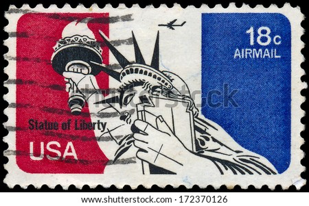 USA - CIRCA 1973: A stamps printed in USA showing Statue of Liberty, circa 1973.