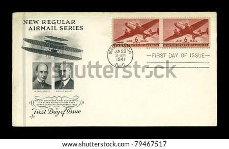 USA - CIRCA 1941-  Airmail American First Day of Issue (June 25, 1941) cover shows a Twin-Motored Transport Plane, circa 1941. - stock photo