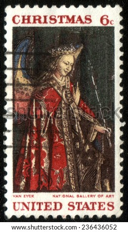 USA - CIRCA 1968- American Christmas postage stamp shows The Annunciation based on a painting by the Flemish artist Jan van Eyck. Circa 1968. - stock photo