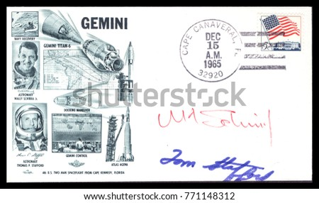 USA - CIRCA December 15th 1965: Nasa, US postal service first day cover with hand written signature  of Wally Schirra, Tom Stafford, commemorating: Gemini 6 spaceship  Project.