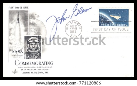 USA - CIRCA FEBRUARY 20th 1962: NASA, US postal service rare first day cover with hand written signature  of Astronaut John Glen and crossed postal stamps commemorating: Mercury Project spaceship.