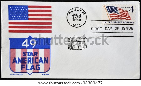 USA - CIRCA 1959: Independence commemorative stamp flaming the United States flag, circa 1959 - stock photo