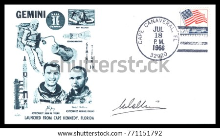 USA - CIRCA July 18th1966: Nasa, US postal service first day cover with hand written signature  of Michael Collins, commemorating: Gemini 10 spaceship  Project.