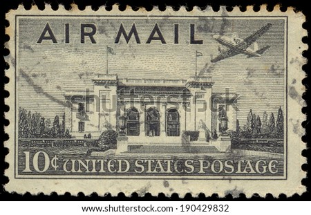 USA - CIRCA 1947: Postage stamp printed in The United States of America shows the Pan American Union Building. Washington, DC. Sealing mark, circa 1947