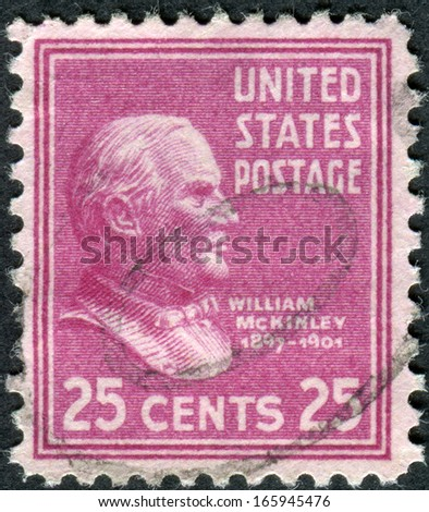 USA - CIRCA 1938: Postage stamp printed in the USA, a portrait of 25th President of the United States, William McKinley, circa 1938 - stock photo