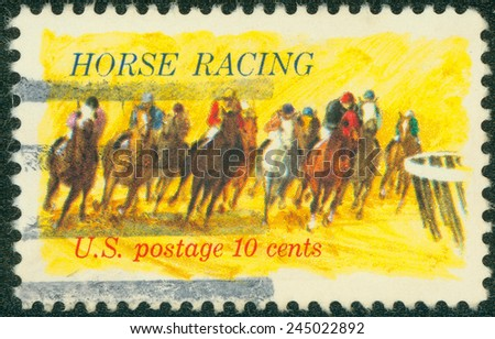 """USA - CIRCA 1974: Postage stamp printed in the USA, dedicated to the 100th anniversary of racing on horseback """"Kentucky Derby"""" shows Horses Rounding Turn, circa 1974 - stock photo"""