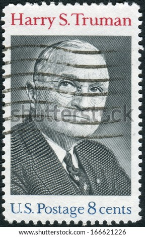 USA - CIRCA 1973: Postage stamp printed in the USA, shows a portrait 33rd President of the United States, Harry S. Truman, circa 1973 - stock photo