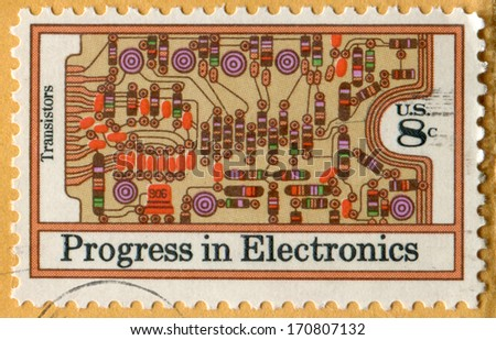 USA- CIRCA 1973: Postage stamp printed in United States of America shows Transistors and Printed Circuit Board. Electronics Progress. Scott Catalog A915 1501 8c tan multicolored, orange, circa 1973