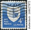 USA - CIRCA 1960: Postage stamp printed in USA, dedicated to South-East Asia Treaty Organization and the SEATO Conference, Washington, shows emblem of SEATO, circa 1960 - stock