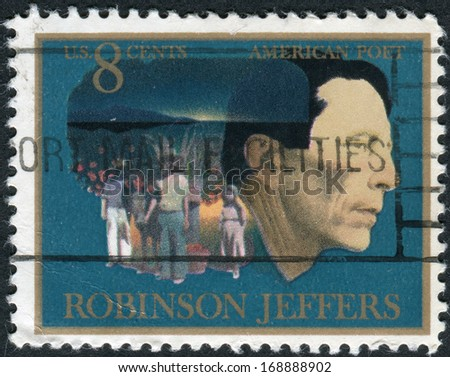 USA - CIRCA 1973: Postage stamp printed in USA, shows Robinson Jeffers, Man and Children of Carmel with Burro, circa 1973
