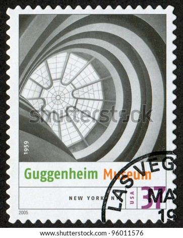USA - CIRCA 2005: Postage stamp printed in USA shows the image of Guggenheim Museum  (New York City). Modern American Architecture, circa 2005 - stock photo