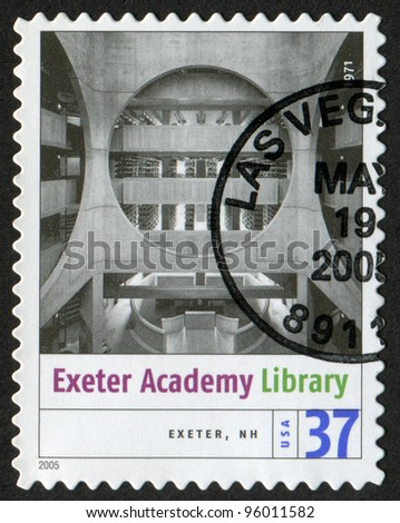 USA - CIRCA 2005: Postage stamp printed in USA shows the image of Phillips Exeter Academy Library (Exeter, New Hampshire). Modern American Architecture, circa 2005 - stock photo