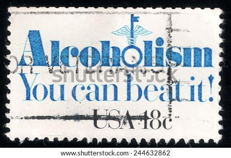 USA - CIRCA 1981: postage stamp printed in USA  shows the slogan: Alcoholism - You can beat it!, circa 1981 - stock photo