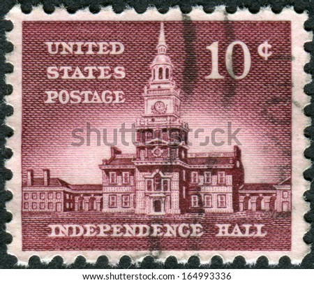 USA - CIRCA 1956: Postage stamps printed in USA, Allied Nations Issue, shows Independence Hall in Philadelphia, circa 1956 - stock photo
