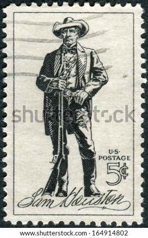 USA - CIRCA 1964: Postage stamps printed in USA, shows Sam Houston (1793-1863), soldier, president of Texas, US senator, circa 1964 - stock photo
