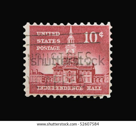 USA - CIRCA 1930s: A stamp printed in the USA showing Independence Hall, circa 1930s